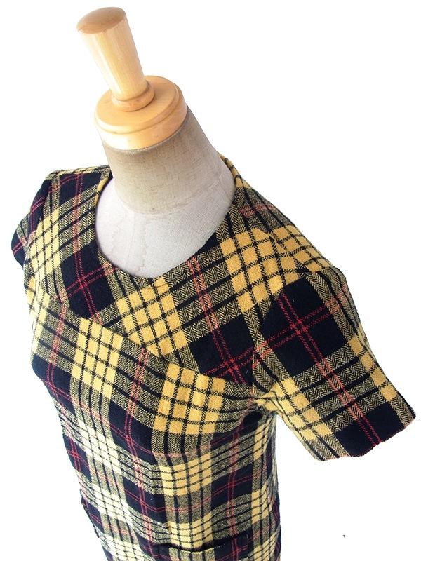ヨーロッパ古着 ロンドン買い付け 60年代製 イエロー X ブラック・レッド タータンチェック ポケット付き ウール ワンピース 17BS100