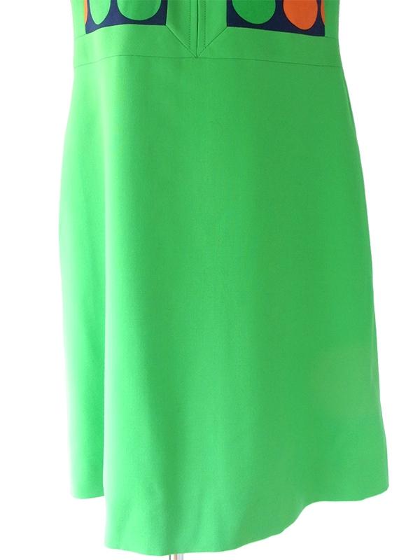 ヨーロッパ古着 ロンドン買い付け 60年代製 グリーン X ネイビー・オレンジ 水玉 ウール レトロ ワンピース 17BS103