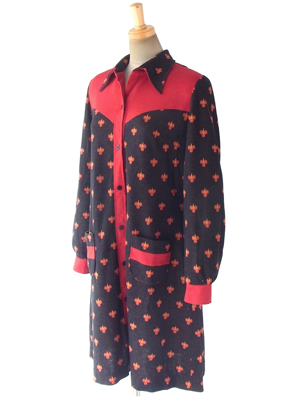 ヨーロッパ古着 ロンドン買い付け 70年代製 ブラウン X レッド・イエロー レトロ柄 ポケット付き  ワンピース 17BS104