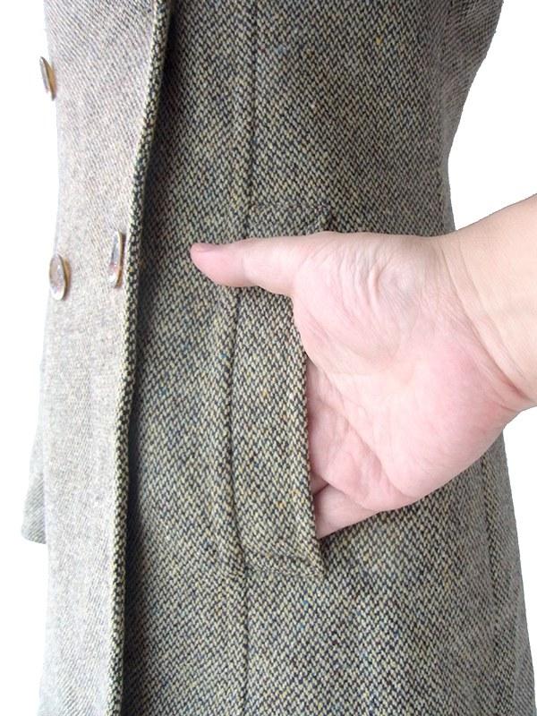ヨーロッパ古着 ロンドン買い付け Paul Costelloe カーキ X ウール ツイード ジャケット コート 17BS108