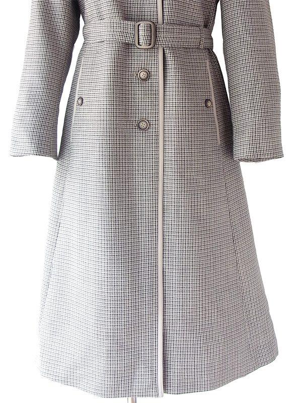 ヨーロッパ古着 ロンドン買い付け ハウンドトゥース柄 X ライトグレイのライニング ベルト付き ウール コート 17BS109