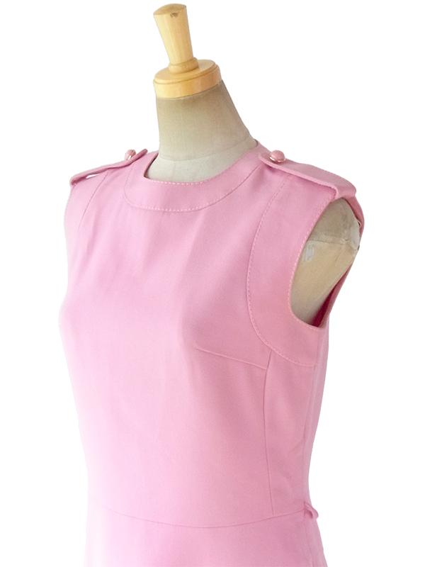 ヨーロッパ古着 ロンドン買い付け 60年代製 ピンク X ビッグステッチ 肩口に飾りボタン ヴィンテージ ウール ワンピース 17BS205