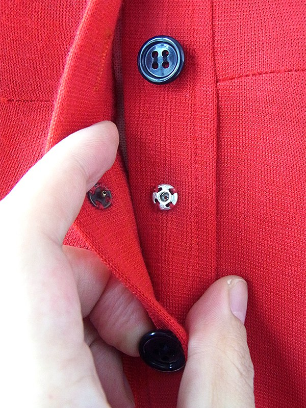 ヨーロッパ古着 ロンドン買い付け 60年代製 レッド X ・ネイビー パイピング 可愛らしい襟 レトロ ウール ワンピース 17BS211