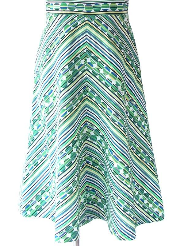 ヨーロッパ古着 ロンドン買い付け 70年代製 グリーン ・ブルー X 水玉・ストライプ・バイアス柄プリント レトロ ワンピース 17BS218