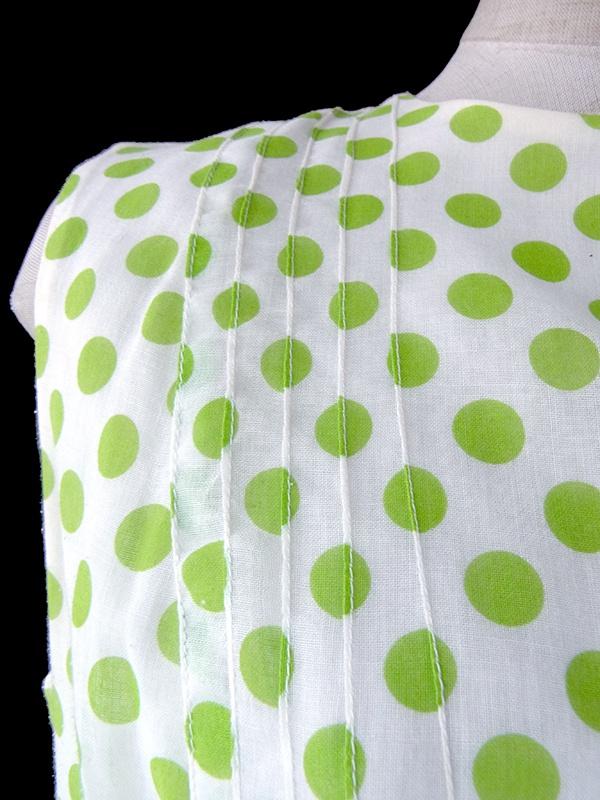 ヨーロッパ古着 60年代フランス製 ホワイト X グリーン 水玉 ドロップウェスト ワンピース 17FC016