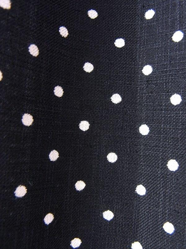 ヨーロッパ古着 フランス買い付け 70年代製 ブラック X ホワイト 水玉 袖口リボン結び ワンピース 17FC226