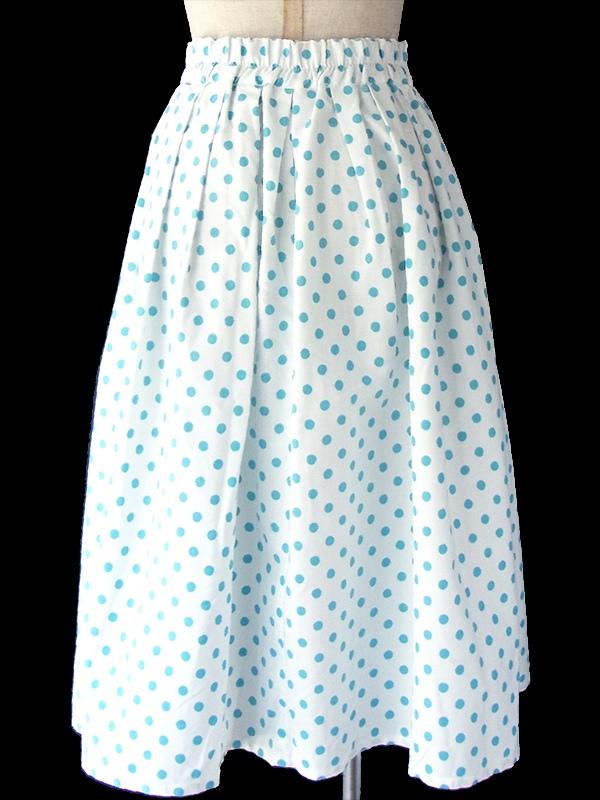 ヨーロッパ古着 ルーマニア製 ホワイト X 水色 水玉 前開き プリーツ スカート 17FC230