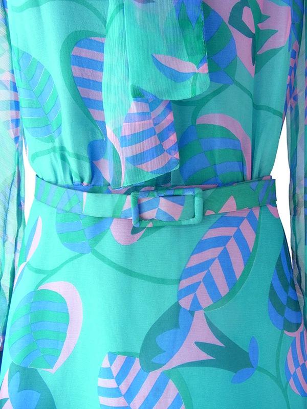 ヨーロッパ古着 60年代フランス製 エメラルドグリーン X ピンク・ブルー 花柄 ボウタイ シフォン地 ワンピース 17FC300