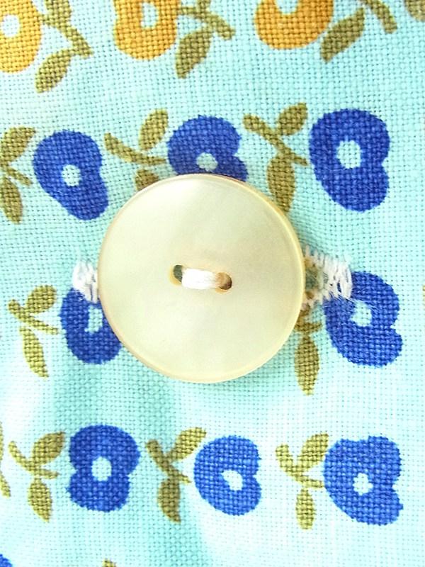ヨーロッパ古着 フランス買い付け 60年代製 水色 X ブルー・イエロー 花柄 ヴィンテージ ワンピース 17FC303
