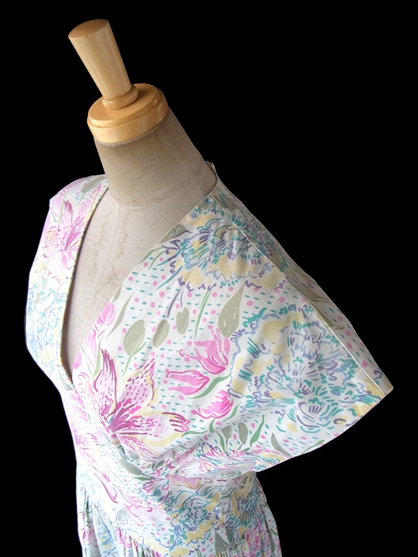 イギリス製 Laura Ashley ホワイト X パステルカラー 花柄プリント ロング ワンピース 17FC305