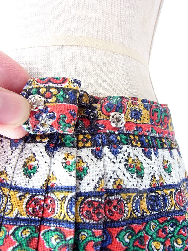【ヨーロッパ古着】フランス買い付け 60年代製 カラフル チロル柄 プリーツ スカート 17FC333【おとなかわいい】