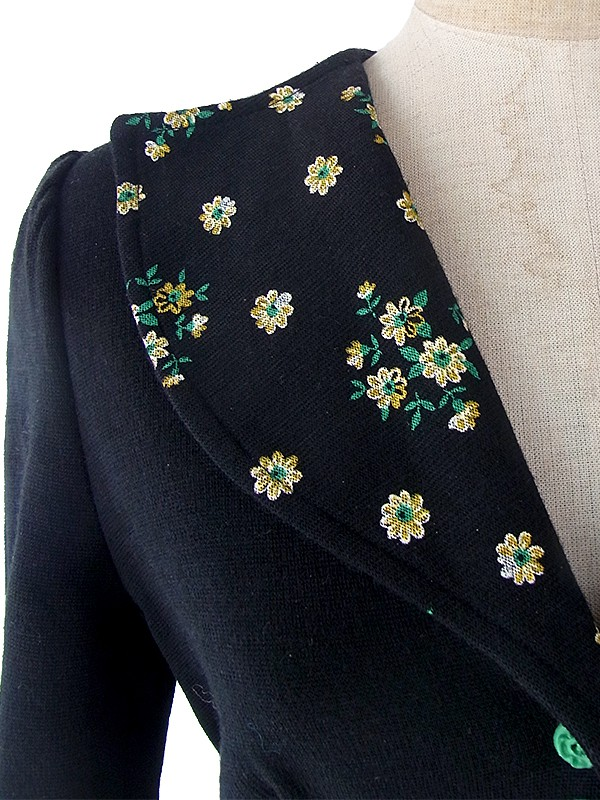 ヨーロッパ古着 フランス買い付け 60年代製 ブラック X イエロー・グリーン花柄 ウール ワンピース 17FC404