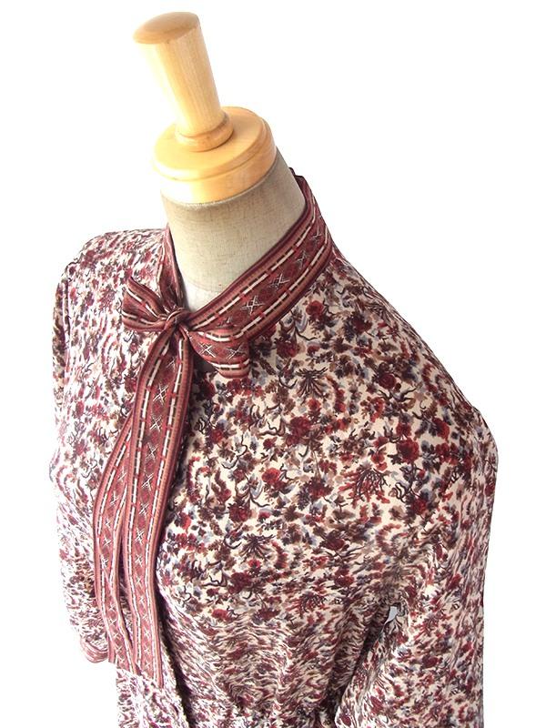 ヨーロッパ古着 フランス買い付け 70年代製 ベージュ X ブラウン・レッド 草花柄 ボウタイ ワンピース 17FC405