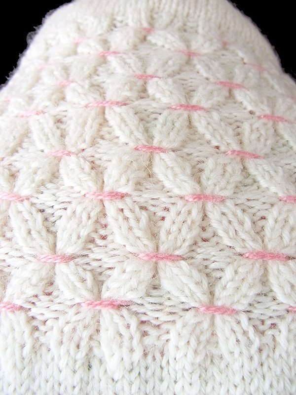 ヨーロッパ古着 フランス買い付け 60年代製 ホワイト X ピンク シャーリング リボン付き ウール カーディガン 17FC421