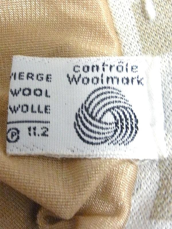 ヨーロッパ古着 60年代フランス製 アイボリー X シルバー・ゴールド スクエア・ダイヤ柄 ウール スカート 17FC514