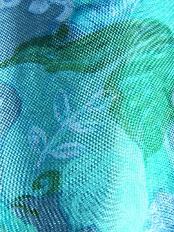 ヨーロッパ古着 フランス買い付け レッド X 水色 花柄 ホワイト パイピング ヴィンテージ ワンピース 15FC213