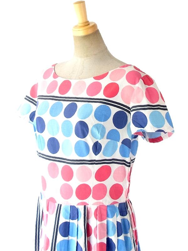 ヨーロッパ古着 ロンドン買い付け 60年代製 ホワイト X ピンク・水色・ブルー 水玉 プリーツ ワンピース 17OM321