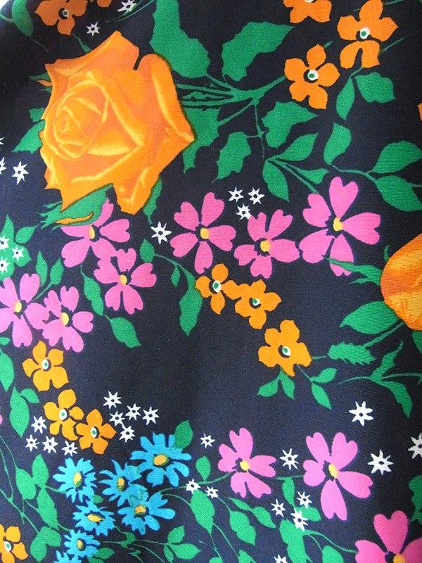 ヨーロッパ古着 ロンドン買い付け 70年代製 ネイビー X オレンジ 薔薇プリント シンチウェスト ワンピース 17OM406