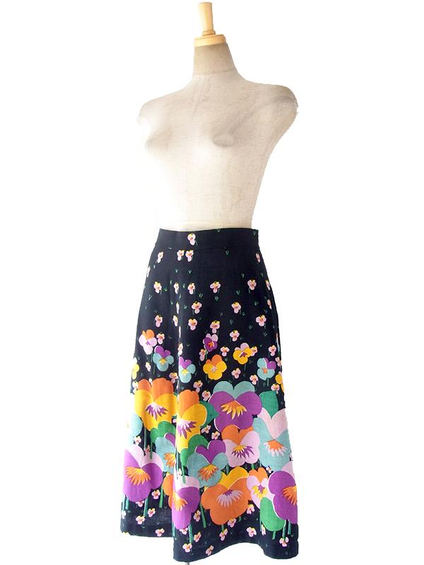 ヨーロッパ古着 ロンドン買い付け 60年代製 ブラック X カラフル レトロ花柄 ヴィンテージ スカート 17OM437