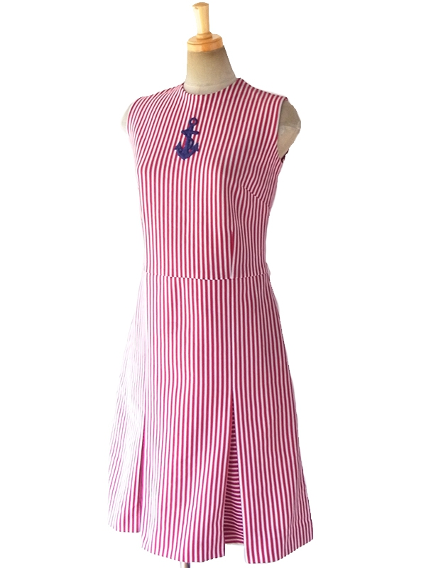【送料無料】70年代フランス製 エンジ X ホワイト ストライプ 錨柄刺繍 デッドストック プリーツ ワンピース 17OM600【未使用品】