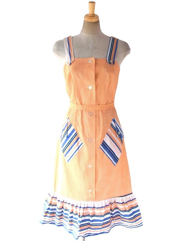 ヨーロッパ古着 60年代フランス製 オレンジ・ブルー チェック・水玉 デッドストック ストラップ ワンピース 17OM601