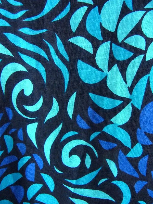 【送料無料】60年代フランス製 ブラック X エメラルドブルー・ブルー リーフ柄 共布ベルト付き デッドストック ワンピース 17OM603【未使用品】