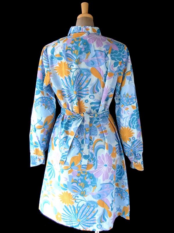 ヨーロッパ古着 60年代フランス製 水色 X オレンジ・パープル 花柄 共布ベルト付き デッドストック ワンピース 17OM605