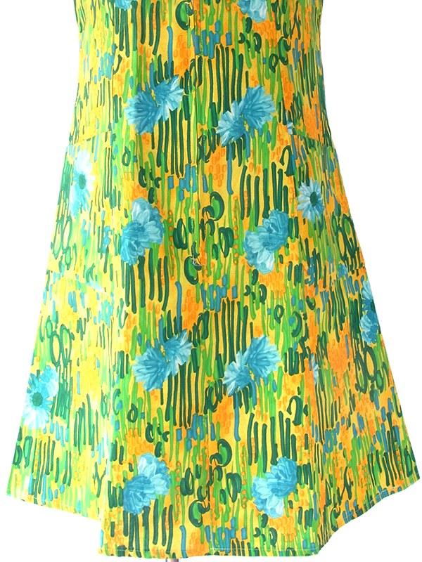 ヨーロッパ古着 ロンドン買い付け 60年代製 イエロー X グリーン・水色 花柄 フロントジップ ワンピース 17OM621