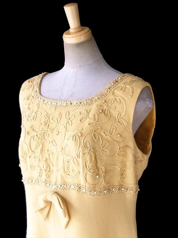 ヨーロッパ古着 ロンドン買い付け 60年代製 マスタードイエロー X リボン付き コード刺繍 ビジュー パーティー ドレス 17OM700