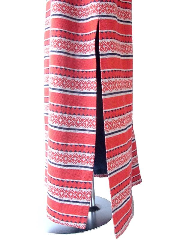 ヨーロッパ古着 ロンドン買い付け 60年代製 レッド X グレイ フェアアイル柄 ヴィンテージ マキシスカート 17OM714