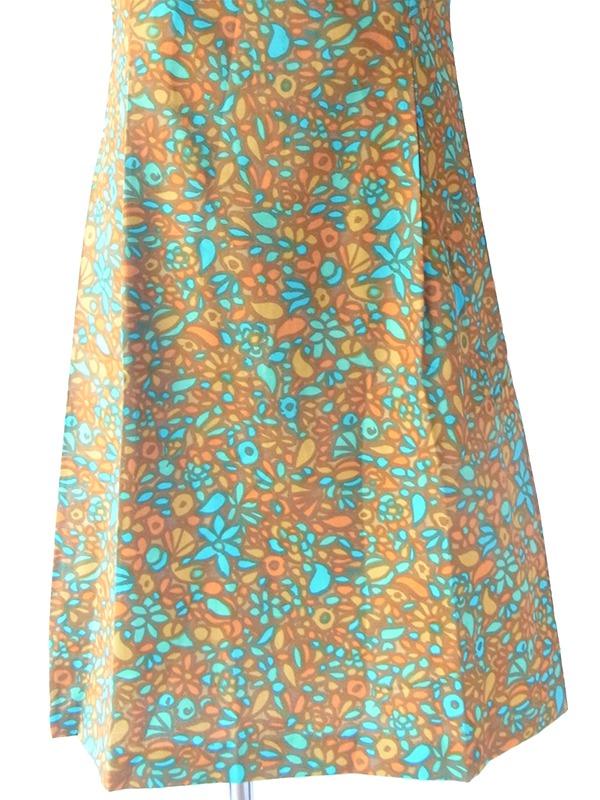 【送料無料】60年代フランス製 ブラウン・水色 レトロ柄 リボン付き デッドストック ワンピース 17OM727【未使用品】