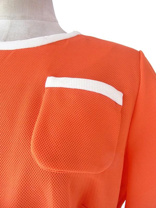 ヨーロッパ古着 ロンドン買い付け 60年代製 オレンジ X ホワイト ポケット・ベルト付き レトロ ワンピース 17OM801