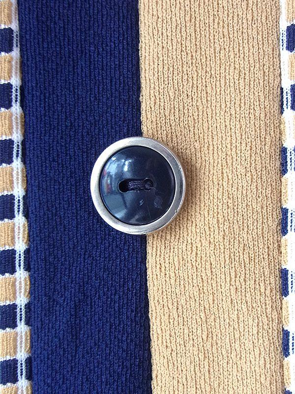 ヨーロッパ古着 ロンドン買い付け70年代製 ブルー X ベージュ チェック柄切り返し レトロ ワンピース 17OM807