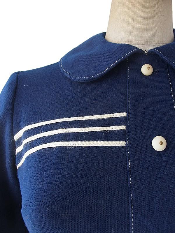 ヨーロッパ古着 ロンドン買い付け 60年代製 ブルー X ホワイト ボーダー 丸襟 ウール ワンピース 17OM821