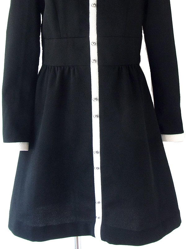 ヨーロッパ古着 ロンドン買い付け 60年代製 ブラック X ホワイト ライン シンチウェスト レトロ ワンピース 18BS106