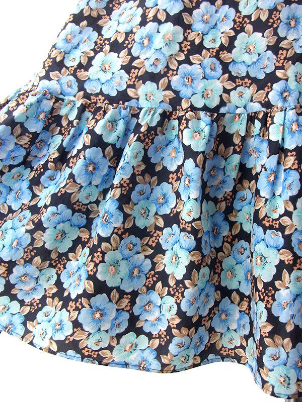 ヨーロッパ古着 ロンドン買い付け 70年代製 ブラック 水色 花柄 パフスリーブ ヴィンテージ ワンピース 18BS112