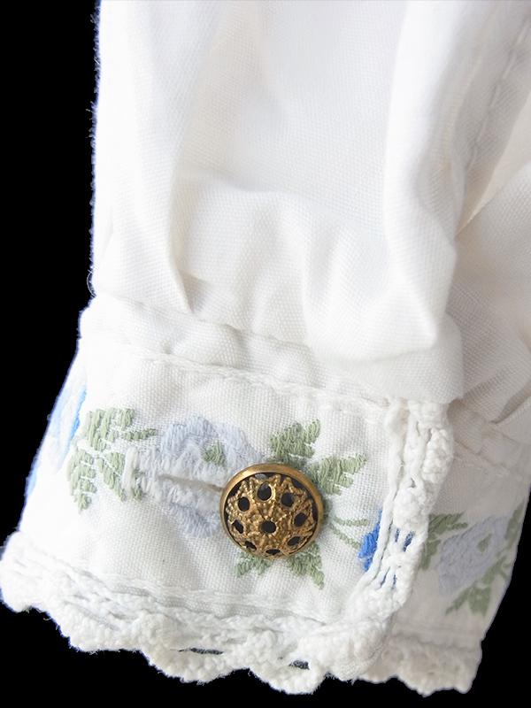 ヨーロッパ古着 ロンドン買い付け 60年代製 ホワイト X カットレース・花柄刺繍 ヴィンテージ ブラウス 18BS125