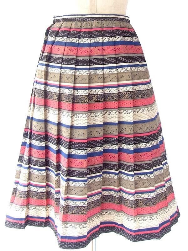 ヨーロッパ古着 イギリス製 ゴールド・ブルー・レッド オリエンタル柄 プリーツスカート 18BS129