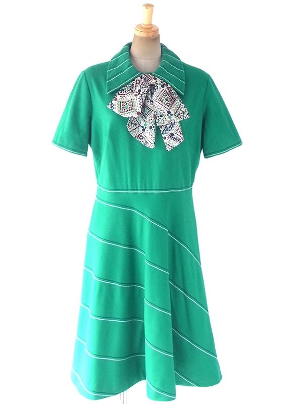 ヨーロッパ古着 ロンドン買い付け 60年代製 グリーン X スカーフタイ ステッチデザイン ウール ワンピース 18BS213