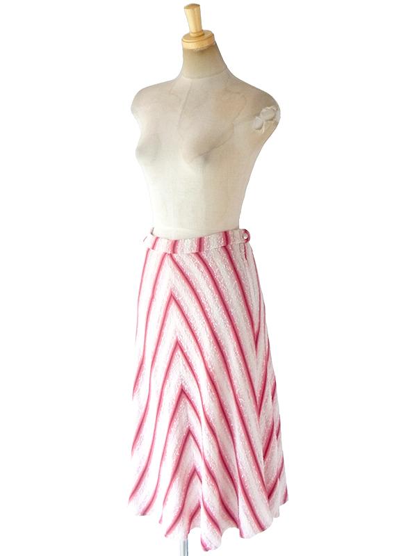 ヨーロッパ古着 ロンドン買い付け ホワイト X レッド バイアス柄 パイル生地 スカート 18BS223
