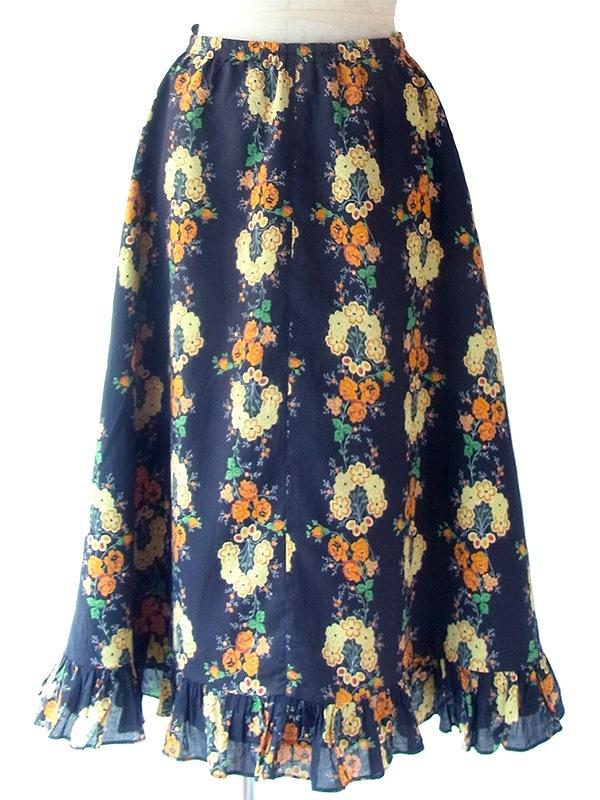 ヨーロッパ古着 ロンドン買い付け 60年代製 ブラック X カラフル花柄 ギャザー裾 フレア スカート 18BS232