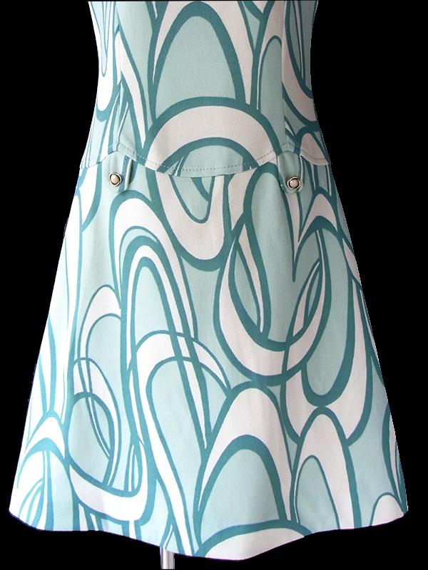 ヨーロッパ古着 ロンドン買い付け70年代製 アイスグリーン X オフホワイト レトロ柄 ヴィンテージ ワンピース 18BS300