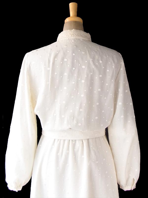ヨーロッパ古着 ロンドン買い付け 60年代製 アイボリー X レース装飾・水玉刺繍 共布ベルト付き ヴィンテージ ワンピース 18BS306