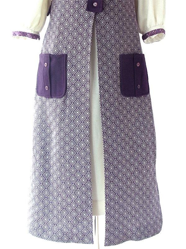 ヨーロッパ古着 ロンドン買い付け 60年代製 パープル X ホワイト レトロ柄 ポケット付き ジレ ワンピース 18BS308