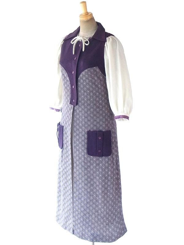 ヨーロッパ古着 ロンドン買い付け 60年代製 パープル X ホワイト レトロ柄 ポケット付き ジレ ワンピース 18BS3083
