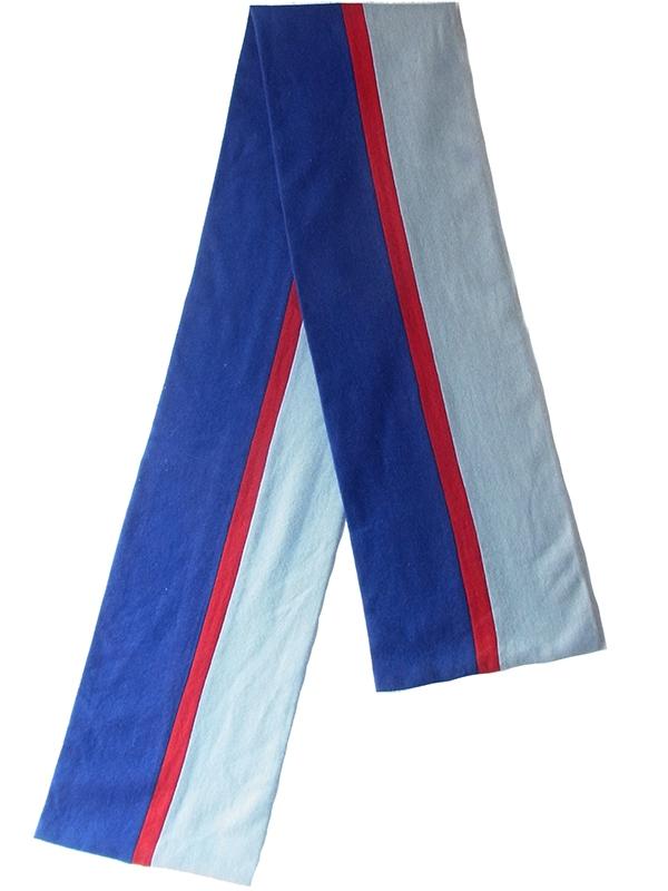 【ヨーロッパ古着】イギリス製 ブルー レッド 水色 ストライプ ウール スクール マフラー 18BS321【おとなかわいい】