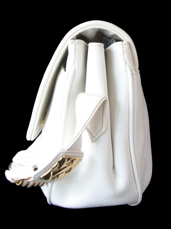 【ヨーロッパ古着】ロンドン買い付け ホワイト X ゴールド装飾 ヴィンテージ レザー ショルダー バッグ 18BS324【レトロ】