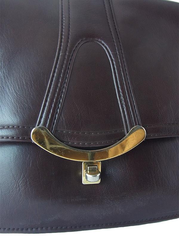 ロンドン買い付け ダークブラウン X ゴールド装飾 ヴィンテージ レザー ショルダー バッグ 18BS329