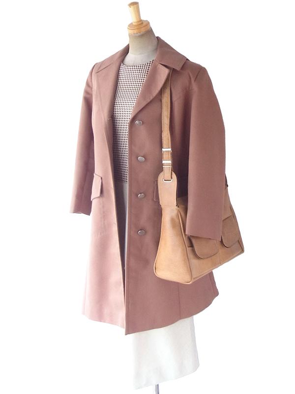 ヨーロッパ古着 ロンドン買い付け 60年代製 キャメルブラウン X フロントポケット付き レザー ショルダーバッグ 18BS330