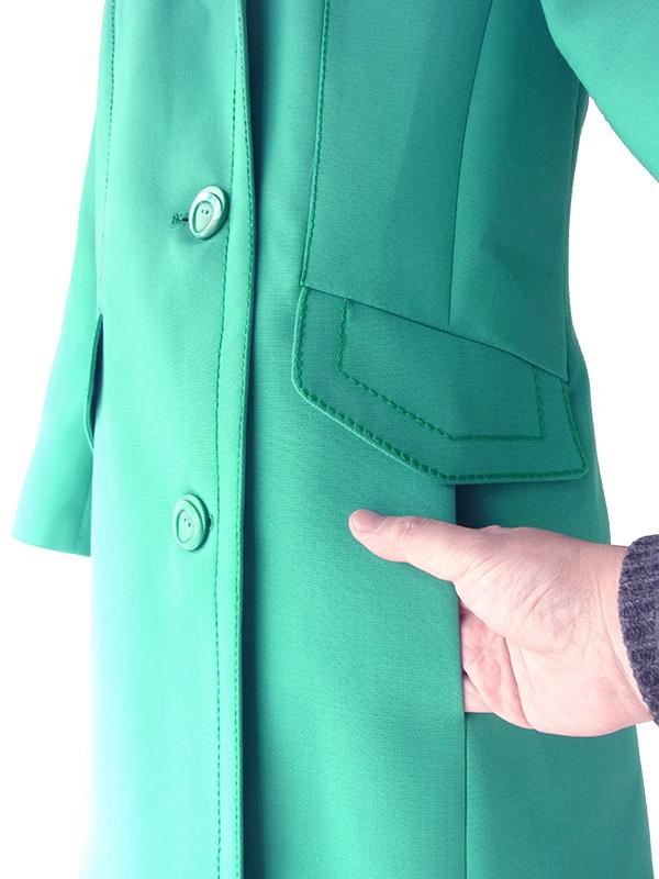ヨーロッパ古着 フランス買い付け 70年代製 エメラルドブルー X ビッグステッチ スプリング コート 18FC000